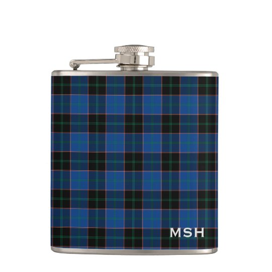 Clan Hume Tartan Blue and Black Plaid Monogram