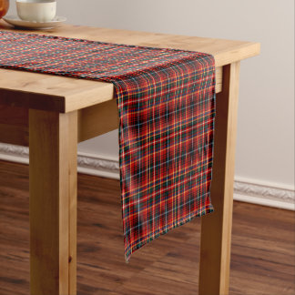 Clan Innes Bright Red and Black Scottish Tartan Short Table Runner