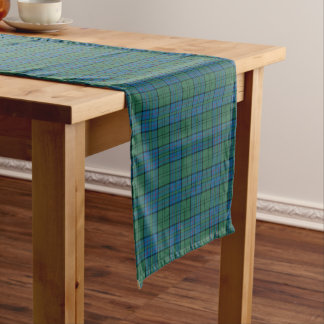 Clan Lockhart Green and Blue Scottish Tartan Short Table Runner