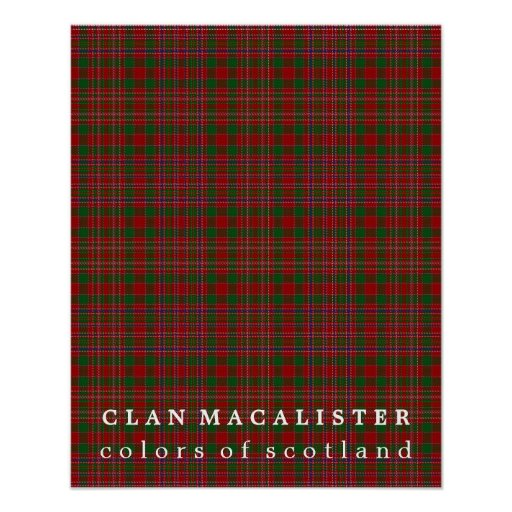 Clan MacAlister Colours of Scotland Tartan Poster