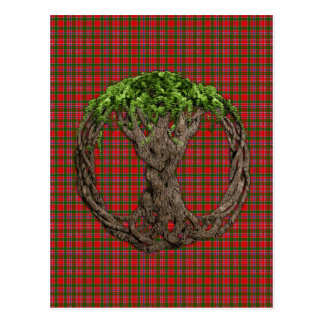 Clan MacAlister Tartan And Celtic Tree Of Life Postcard