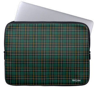 Clan MacAlpine Tartan Dark Green Plaid Monogrammed Laptop Sleeve