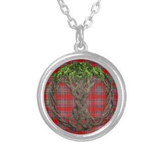 Clan MacBean Tartan And Celtic Tree Of Life Silver Plated Necklace