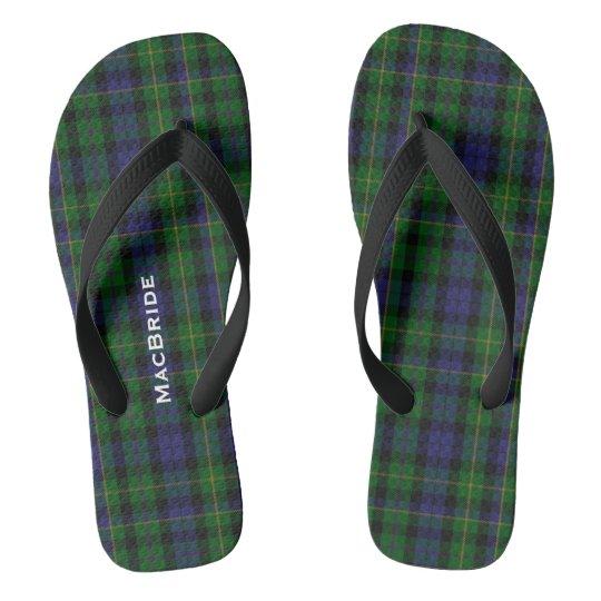 Clan MacBride Plaid Personalised Flip Flops