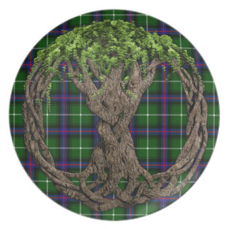 Clan MacDonald of the Isles Tartan And Celtic Tree Plate