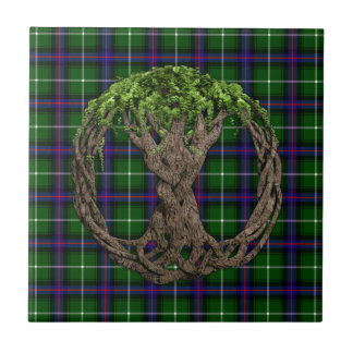 Clan MacDonald of the Isles Tartan And Celtic Tree Small Square Tile