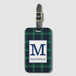 Clan MacDonald Tartan Monogrammed Luggage Tag