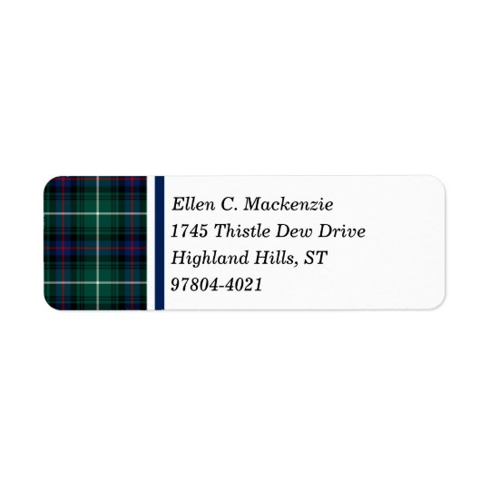 Clan MacDonald Tartan Return Address Labels