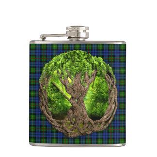 Clan MacEwan Tartan And Celtic Tree Of Life Hip Flasks