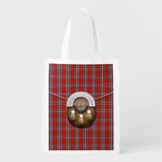 Clan MacFarlane Red Tartan And Sporran Reusable Grocery Bag