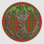 Clan MacGregor Tartan And Celtic Tree Of Life Round Sticker