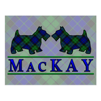 Clan MacKay Tartan Scottie Dogs Postcard