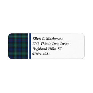 Clan Mackenzie Dark Blue and Green Scottish Tartan Return Address Label