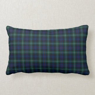 Clan Mackenzie Tartan Dark Blue and Green Plaid Lumbar Pillow