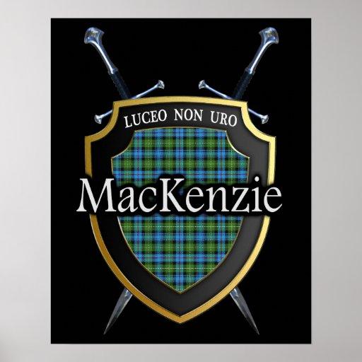 Clan MacKenzie Tartan Scottish Shield & Swords Poster