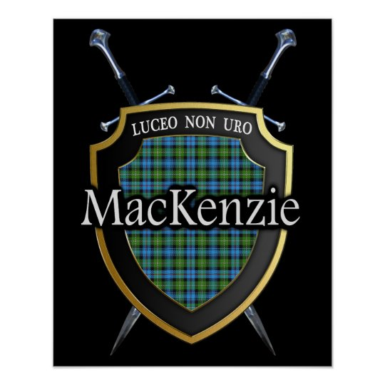 Clan MacKenzie Tartan Scottish Shield & Swords Poster