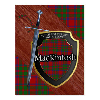 Clan MacKintosh Tartan Sword & Shield Postcard