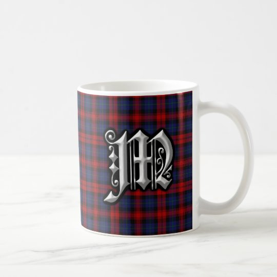 Clan MacLachlan Letter M Monogram Red Blue Tartan