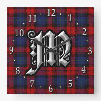 Clan MacLachlan Letter M Monogram Red Blue Tartan Square Wall Clock