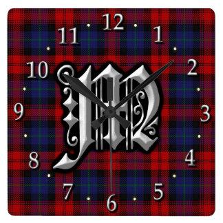 Clan MacLachlan Letter M Monogram Red Blue Tartan Wall Clock