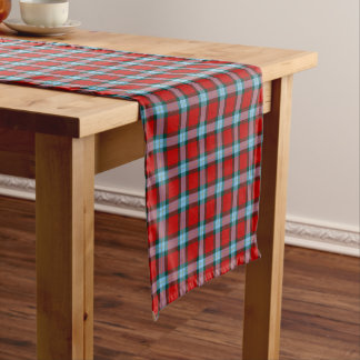 Clan MacLaine Bright Red and Sky Blue Tartan Short Table Runner