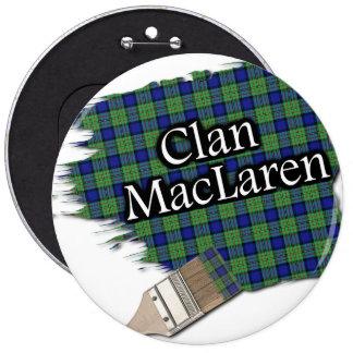 Clan MacLaren Tartan Paint Brush 6 Cm Round Badge