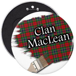 Clan MacLean Tartan Paint Brush 6 Cm Round Badge