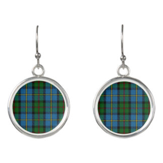 Clan MacLeod Blue & Green Hunting Tartan Plaid Earrings