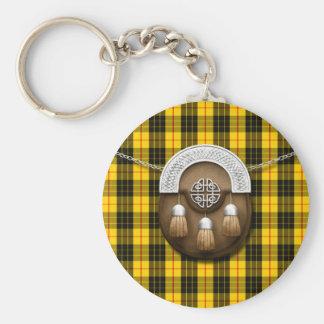 Clan MacLeod Tartan And Sporran Basic Round Button Key Ring