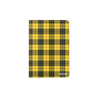 Clan MacLeod Yellow and Black Tartan Monogram Passport Holder