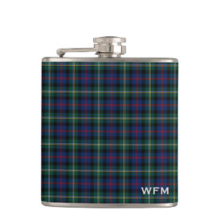 Clan Maclolm Dark Blue and Green Tartan Monogram Hip Flask