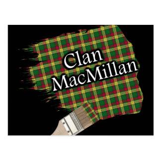 Clan MacMillan Scottish Tartan Paint Brush Postcard