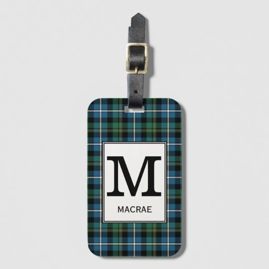 Clan MacRae Hunting Tartan Monogrammed Luggage Tag