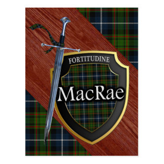 Clan MacRae Tartan Sword & Shield Postcard