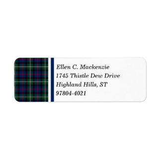 Clan Malcolm Dark Blue and Green Scottish Tartan Return Address Label