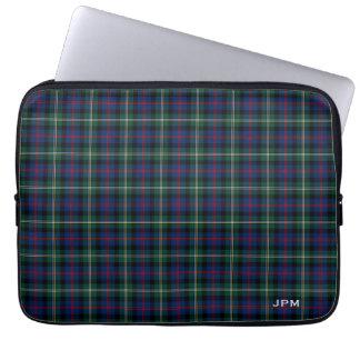 Clan Malcolm Tartan Dark Blue Plaid Monogram Laptop Sleeve