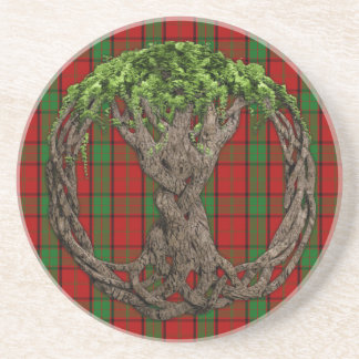 Clan Maxwell Tartan And Celtic Tree Of Life Coaster