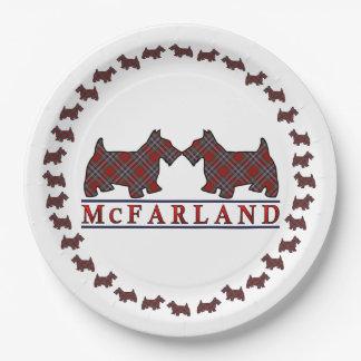 Clan McFarland MacFarlane Tartan Scottie Dogs Paper Plate