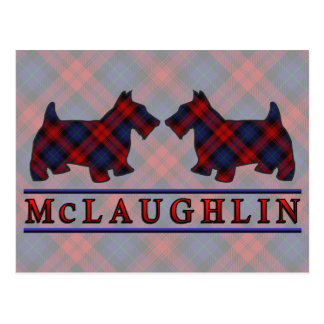 Clan McLaughlin MacLachlan Tartan Scottie Dogs Postcard