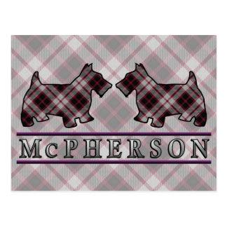 Clan McPherson Tartan Scottie Dogs Postcard
