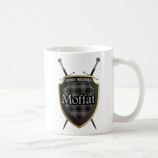 Clan Moffat Tartan Shield and Swords Coffee Mug