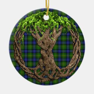 Clan Muir Tartan And Celtic Tree Of Life Christmas Ornament