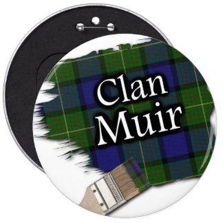 Clan Muir Tartan Paint Brush 6 Cm Round Badge