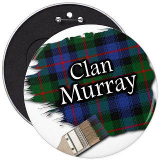 Clan Murray Tartan Paint Brush 6 Cm Round Badge