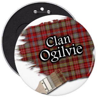 Clan Ogilvie Tartan Paint Brush 6 Cm Round Badge
