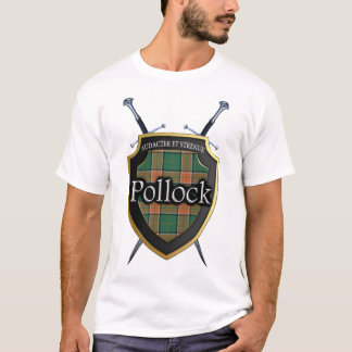 Clan Pollock Tartan Plaid Shield & Swords T-Shirt