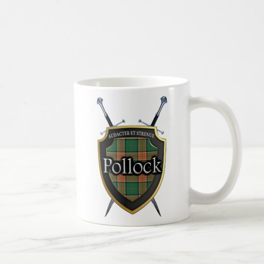 Clan Pollock Tartan Shield and Swords Coffee Mug