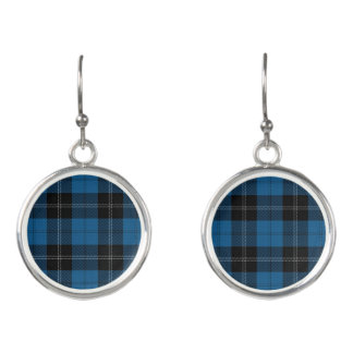 Clan Ramsay Ramsey Blue Black Hunting Tartan Plaid Earrings