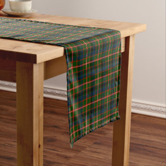 Clan Reid Bright Green and Red Scottish Tartan Short Table Runner