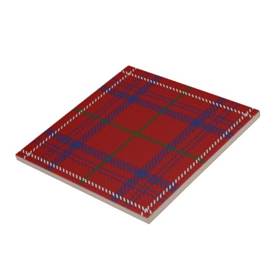 Clan Rose Scottish Expressions Modern Red Tartan Tile